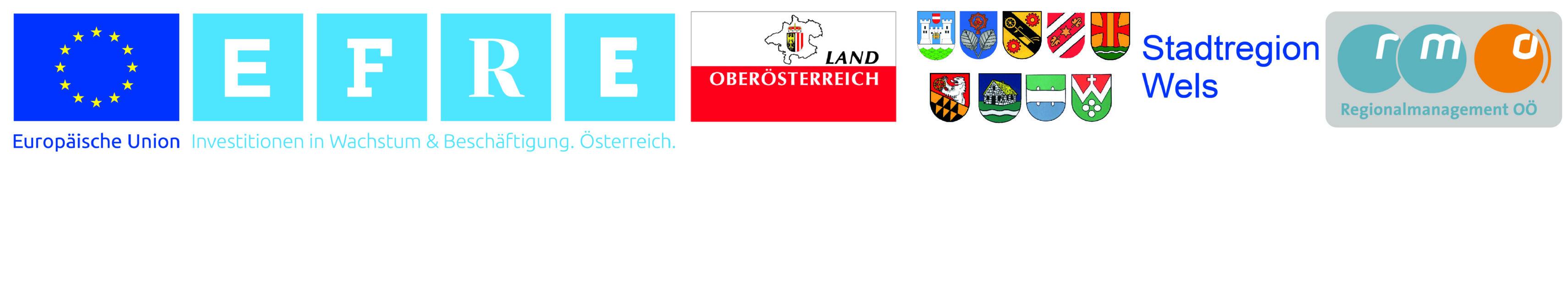 Logoleiste Europäische Union - EFRE - Stadtregion Wels - Land Oberösterreich